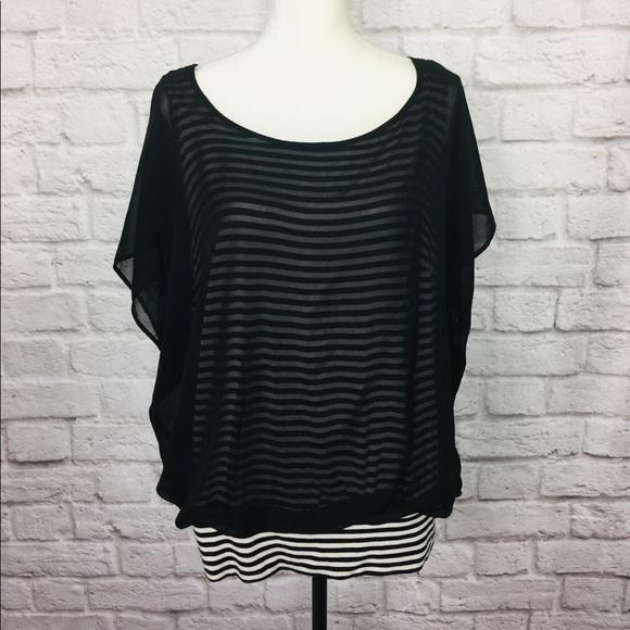 Alyx Tops - Black White Top Blouse Striped Stretchy Alyx